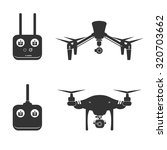 Flat design vector illustration of remote controlled drone with camera  - stock vector