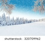 snowy winter landscape with... | Shutterstock . vector #320709962