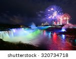 Niagara Falls Lit At Night By...