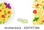 a plate of pasta on a white... | Shutterstock .eps vector #320747186