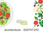 dish with a salad of fresh... | Shutterstock .eps vector #320747192