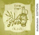 grunge vintage label with olive ... | Shutterstock .eps vector #320755496