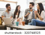 group of friends meeting in the ... | Shutterstock . vector #320768525