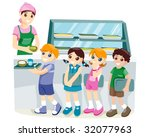kids at the canteen   vector | Shutterstock .eps vector #32077963
