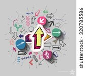 arrows collage with icons... | Shutterstock .eps vector #320785586