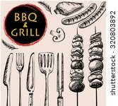 barbecue grill meat food and... | Shutterstock .eps vector #320803892