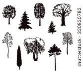 hand drawn trees set. vector... | Shutterstock .eps vector #320820782