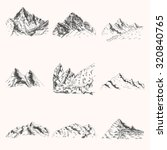 set of mountain and rock hand... | Shutterstock .eps vector #320840765