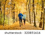 jogging couple   young man and... | Shutterstock . vector #320851616