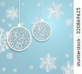 ball openwork paper on blue... | Shutterstock .eps vector #320869625