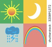 4 Weather Icons   Sun  Moon ...