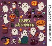 vintage halloween poster design ... | Shutterstock .eps vector #320897426