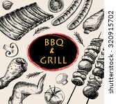 barbecue grill meat food and... | Shutterstock .eps vector #320915702