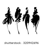 Fashion models sketch hand drawn  , stylized silhouettes isolated on white. Vector fashion illustration set.   Shutterstock vector #320942696