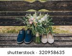 bouquet of flowers and greenery ... | Shutterstock . vector #320958635