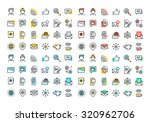 flat line colorful icons... | Shutterstock .eps vector #320962706