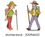 a woman and man hiker with... | Shutterstock .eps vector #32096632