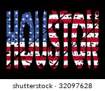 grunge houston text with... | Shutterstock . vector #32097628