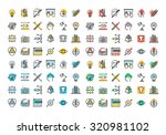 flat line colorful icons... | Shutterstock .eps vector #320981102