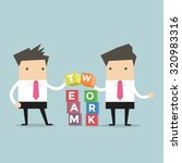 two businessman is building...   Shutterstock .eps vector #320983316
