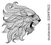 ethnic patterned head of lion   ... | Shutterstock .eps vector #320997812