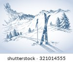 Ski Background  Mountains In...