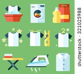 vector set of laundry  clothes... | Shutterstock .eps vector #321025988