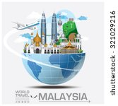 Malaysia Landmark Global Travel And Journey Infographic Vector Design Template | Shutterstock vector #321029216