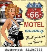 motel  route 66 vintage poster  | Shutterstock .eps vector #321067535