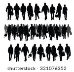 silhouettes of people walking... | Shutterstock .eps vector #321076352