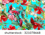 tropical foliage background.... | Shutterstock . vector #321078668