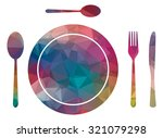 low poly plate and cutlery | Shutterstock .eps vector #321079298
