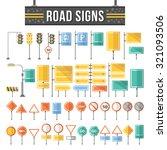 flat road signs set. traffic... | Shutterstock . vector #321093506