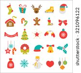 christmas vector icon set | Shutterstock .eps vector #321096122