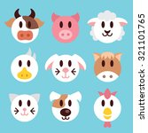 farm animals muzzles and faces... | Shutterstock . vector #321101765