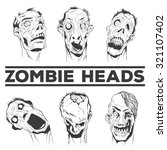 zombie heads collection. six... | Shutterstock .eps vector #321107402