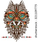 ethnic totem of a wolf. indian... | Shutterstock .eps vector #321109775