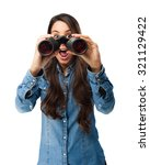 surprised young woman with... | Shutterstock . vector #321129422