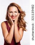 portrait of beautiful blonde... | Shutterstock . vector #321135482