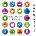 set of fitness and sport flat...