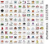 restaurant flat icons set ...
