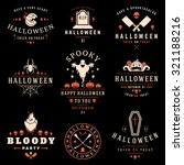 set vintage happy halloween... | Shutterstock .eps vector #321188216