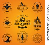 set vintage happy halloween... | Shutterstock .eps vector #321188222