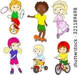 children riding unicycle ... | Shutterstock . vector #321189698