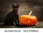 Stock photo halloween pumpkin and black cat on wooden background 321190862