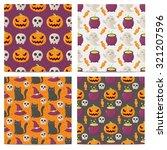 set of halloween seamless... | Shutterstock .eps vector #321207596