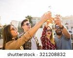 young happy people walking... | Shutterstock . vector #321208832