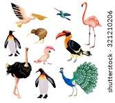 Exotic Birds Decorative Icons...
