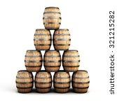 Stack Of Wooden Barrels...