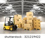 forklift truck in warehouse or... | Shutterstock . vector #321219422